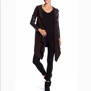 Blank NYC Faux Leather Hooded Cardigan | S